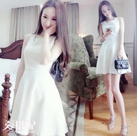 蕾丝白色连衣裙